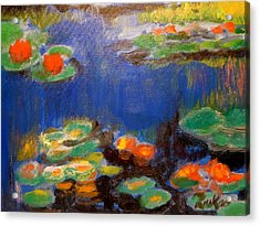Acrylic Print featuring the mixed media Water Lilies  After Monet by Diana Riukas