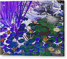 Water Lilies Blue Acrylic Print by Margaret Newcomb