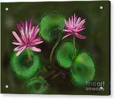Acrylic Print featuring the digital art Water Lilies by Christine Fournier