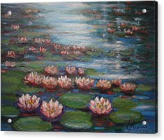 Acrylic Print featuring the painting Water Lilies In Monet Garden by Laila Awad Jamaleldin
