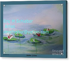 Water Lilies Print Acrylic Print by Eric  Schiabor