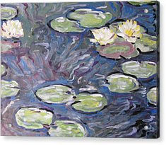 Acrylic Print featuring the painting Water Lilies by Vikram Singh
