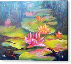 Water Lilly Pond Acrylic Print by Carolyn Jarvis
