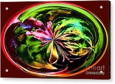 Acrylic Print featuring the digital art Water Lily Abstract Art by Annie Zeno