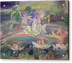 Water Lily Fairies Acrylic Print by Judith Desrosiers