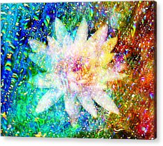 Water Lily With Iridescent Water Drops Acrylic Print