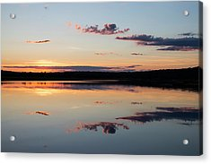 Water Mimics Sky As The Day Fades Acrylic Print