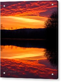 Water On Fire Acrylic Print by Tom Cameron