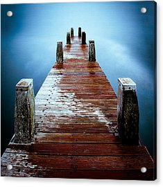 Water On The Jetty Acrylic Print by Dave Bowman