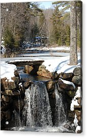 Water Over The Dam Acrylic Print by Mim White
