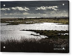 Water Reflection Storm Clouds At Farlington Marshes Wetlands Acrylic Print