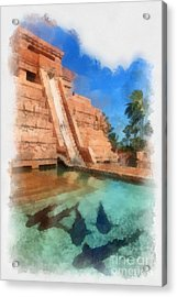 Water Slide At The Mayan Temple Atlantis Resort Acrylic Print by Amy Cicconi