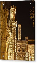 Water Tower At Night Acrylic Print by Daniel Sheldon
