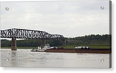 Acrylic Print featuring the photograph Water Under The Bridge - Towboat On The Mississippi by Jane Eleanor Nicholas