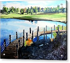 Acrylic Print featuring the painting Water Valley Golf by Tom Riggs