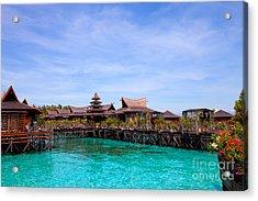 Water Village Borneo Malaysia Acrylic Print by Fototrav Print