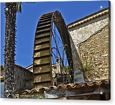 Water Wheel At Moulin A Huile Michel Acrylic Print by Allen Sheffield