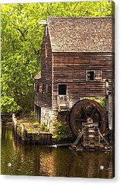 Acrylic Print featuring the photograph Water Wheel At Philipsburg Manor Mill House by Jerry Cowart
