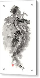 Water Wind Dragon Dragons Sumi-e Ink Painting Chinese Zodiac Five Elements Fantasy World Art Acrylic Print by Mariusz Szmerdt