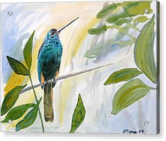Acrylic Print featuring the painting Watercolor - Jacamar In The Rainforest by Cascade Colors