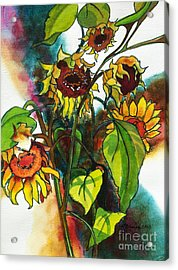 Acrylic Print featuring the painting Sunflowers On The Rise by Kathy Braud