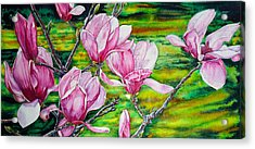 Watercolor Exercise Magnolias Acrylic Print