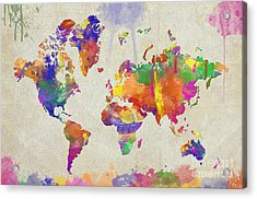 Watercolor Impression World Map Acrylic Print