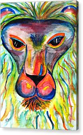 Watercolor Lion Acrylic Print by Angela Murray
