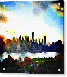 Watercolor Manhattan Acrylic Print
