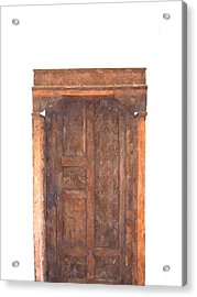 watercolor of antique Moroccan style wooden door on white wall Acrylic Print by Ammar Mas-oo-di