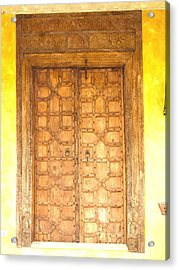 watercolor of antique Moroccan style wooden door on yellow wall Acrylic Print by Ammar Mas-oo-di
