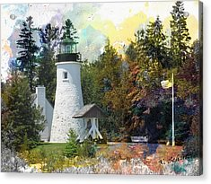 Watercolor Old Presque Lighthouse Acrylic Print