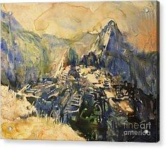 Watercolor Painting Machu Picchu Peru Acrylic Print by Ryan Fox