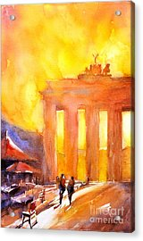 Watercolor Painting Of Brandenburg Gate Berlin Germany Acrylic Print by Ryan Fox