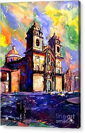 Watercolor Painting Of Church On The Plaza De Armas Cusco Peru Acrylic Print by Ryan Fox