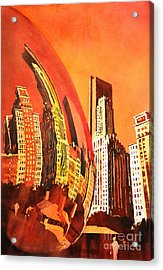 Watercolor Painting Of Downtown Skyscrapers- Chicago Acrylic Print by Ryan Fox