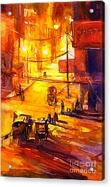 Watercolor Painting Of Kathmandu Street- Nepal Acrylic Print by Ryan Fox