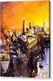 Watercolor Painting Of Raleigh North Carolina Skyline Acrylic Print by Ryan Fox