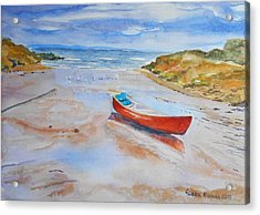 Watercolor Painting Of Red Boat Acrylic Print by Geeta Biswas
