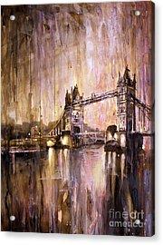 Watercolor Painting Of Tower Bridge London England Acrylic Print by Ryan Fox