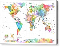Watercolor Political Map Of The World Acrylic Print