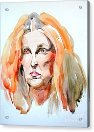 Acrylic Print featuring the painting Watercolor Portrait Of A Mad Redhead by Greta Corens