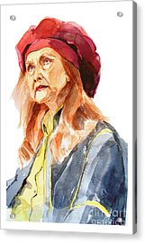 Watercolor Portrait Of An Old Lady Acrylic Print