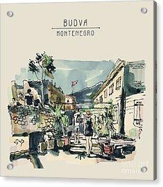 Watercolor Sketching Of Budva Acrylic Print
