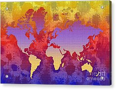 Watercolor Splashes World Map On Canvas Acrylic Print by Zaira Dzhaubaeva