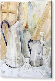 Watercolor Still Life Of White Cans Acrylic Print