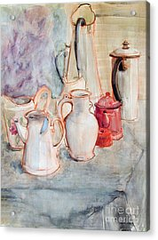 Watercolor Still Life With Red Can Acrylic Print