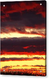Watercolor Sunset Acrylic Print by Sarah Boyd