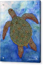 Watercolor Tribal Turtle  Acrylic Print by Carol Lynne