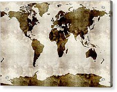 Watercolor World Map Acrylic Print by Celestial Images
